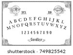 talking board and planchette... | Shutterstock . vector #749825542