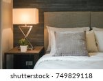 hotel style bedding with white... | Shutterstock . vector #749829118