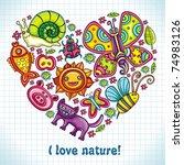 flora and fauna theme heart.... | Shutterstock .eps vector #74983126