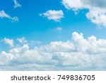 clear blue sky with plain white ... | Shutterstock . vector #749836705
