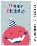 monster party card design.... | Shutterstock .eps vector #749837605