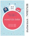 monster party card design.... | Shutterstock .eps vector #749837638