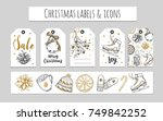 christmas and new year labels ... | Shutterstock .eps vector #749842252
