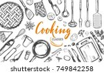 cooking concept. frame with... | Shutterstock .eps vector #749842258