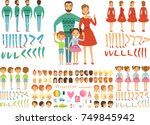 big happy family. mother ... | Shutterstock .eps vector #749845942