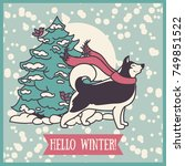 card for winter with cute... | Shutterstock .eps vector #749851522