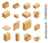 isometric carton packaging box... | Shutterstock . vector #749853352
