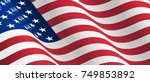 illustration of waving usa flag.... | Shutterstock . vector #749853892