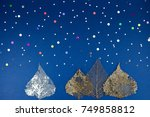 christmas holiday concept. blue ... | Shutterstock . vector #749858812