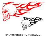 danger skull with flames as a...