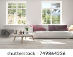 idea of white room with sofa... | Shutterstock . vector #749864236