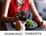 close up of romantic dinner in... | Shutterstock . vector #749865976