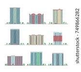 modern city apartment buildings ... | Shutterstock .eps vector #749866282