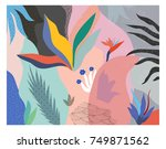 Stock vector creative universal floral header in tropical style modern graphic design hand drawn textures 749871562