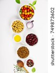 selection of legumes spices... | Shutterstock . vector #749873602
