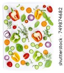 composition of fresh organic... | Shutterstock . vector #749874682