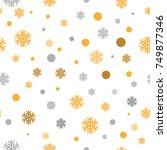 gold glittering snowflakes... | Shutterstock .eps vector #749877346