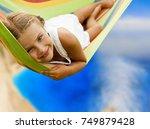 beautiful teenager girl... | Shutterstock . vector #749879428