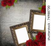bronzed vintage frames on old...   Shutterstock . vector #74988730