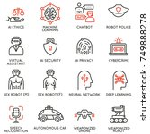 vector set of 16 linear icons... | Shutterstock .eps vector #749888278