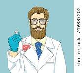 bearded scientist in white robe ... | Shutterstock .eps vector #749889202
