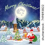 christmas landscape with... | Shutterstock . vector #749893822