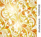 seamless wallpaper with floral... | Shutterstock .eps vector #74989408