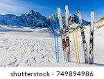 ski in winter season  mountains ...   Shutterstock . vector #749894986