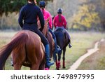 group of teenage girls riding... | Shutterstock . vector #749897995