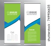 blue roll up business brochure... | Shutterstock .eps vector #749906635