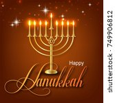 happy hanukkah greeting card... | Shutterstock .eps vector #749906812