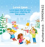 illustration with snowy... | Shutterstock .eps vector #749909632