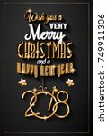 2018 happy new year background...   Shutterstock .eps vector #749911306