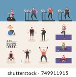 people who play various sports... | Shutterstock .eps vector #749911915