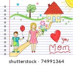 mother day card   kids crayon... | Shutterstock .eps vector #74991364