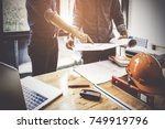 two architect man working with... | Shutterstock . vector #749919796