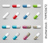 set of vector realistic red ... | Shutterstock .eps vector #749923672