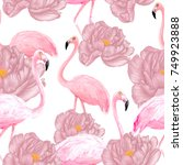 flamingos seamless pattern with ... | Shutterstock . vector #749923888