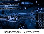 abstract close up of circuits...   Shutterstock . vector #749924995