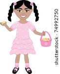 Raster version of cute little girl with Flowers and Basket. - stock photo