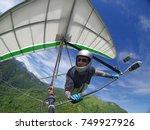 selfie of brave extreme hang... | Shutterstock . vector #749927926