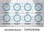time zones wall clock... | Shutterstock . vector #749939098