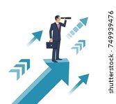 businessman standing on arrow... | Shutterstock .eps vector #749939476