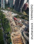 Small photo of CITY CENTER, ORCHARD, SINGAPORE, JULY, 2016: aerial view of the construction site at the city center of Singapore