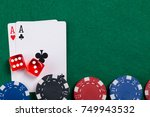 on the green game table  a set...   Shutterstock . vector #749943532