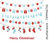 christmas greeting card with... | Shutterstock .eps vector #749946742