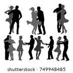 elegant latino dancers couple... | Shutterstock .eps vector #749948485