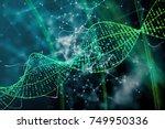 digital green dna background.... | Shutterstock . vector #749950336