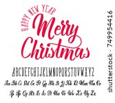 merry christmas  handwritten... | Shutterstock .eps vector #749954416