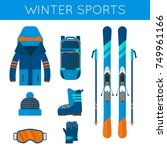 winter sport icons collection.... | Shutterstock .eps vector #749961166